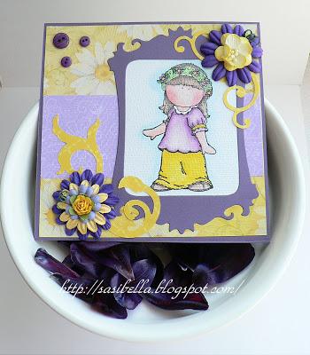 Geburtstagskarte in Lila - gelb 7