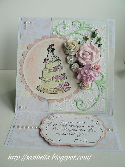 Hochzeits Easel Card / edle Hochzeitskarte handgemacht 13