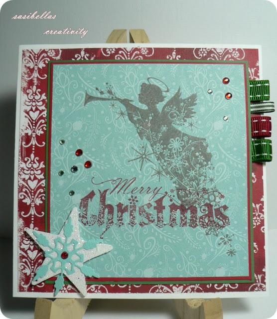 Weihnachtskarte mit Engel - selbstgemacht 1