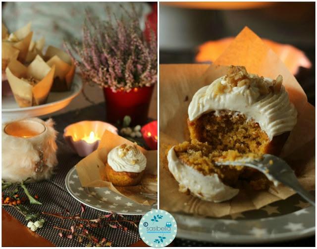 Kürbis Gewürz Cupcakes mit Zimt Frosting 6