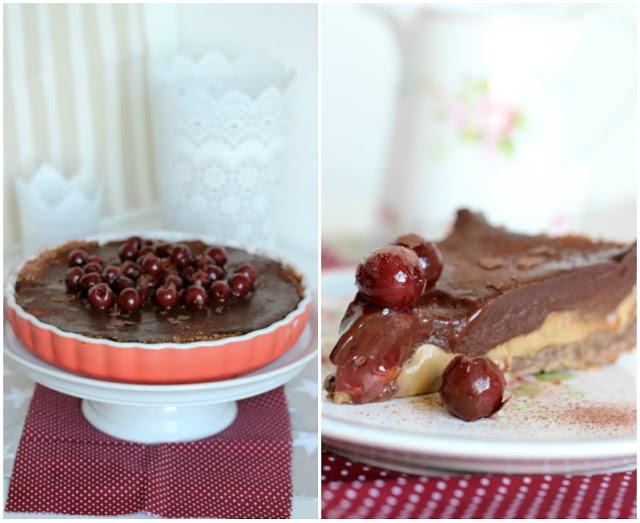 Schoko-Haselnuss Tarte mit Karamel und Kirschen 8