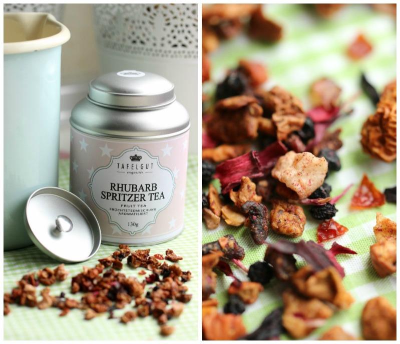 Kleine Teekuchen und Erdbeer Rhabarber Eistee mit Tafelgut Tee. 40