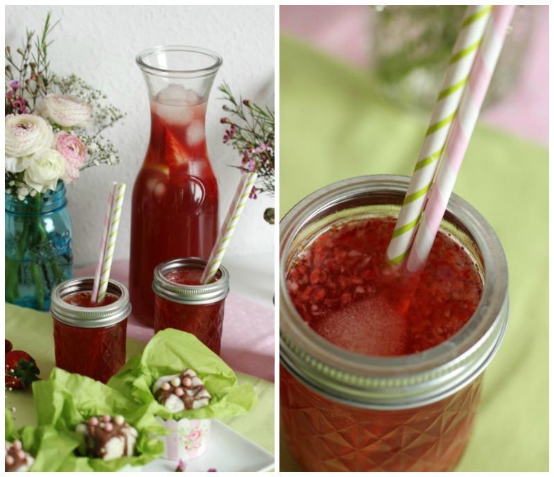 Kleine Teekuchen und Erdbeer Rhabarber Eistee mit Tafelgut Tee. 49