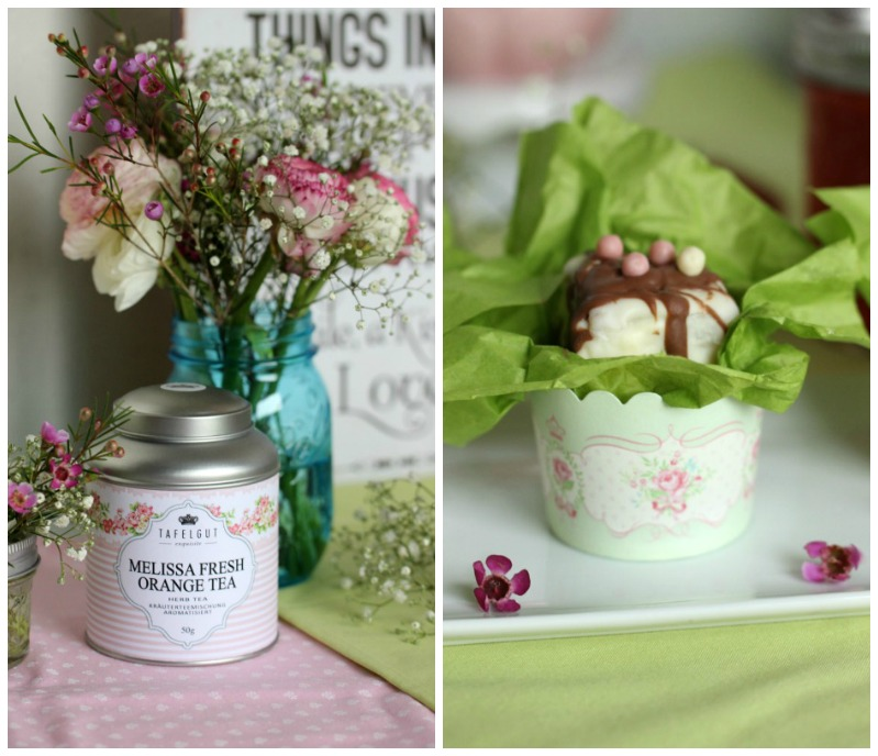 Kleine Teekuchen und Erdbeer Rhabarber Eistee mit Tafelgut Tee. 42