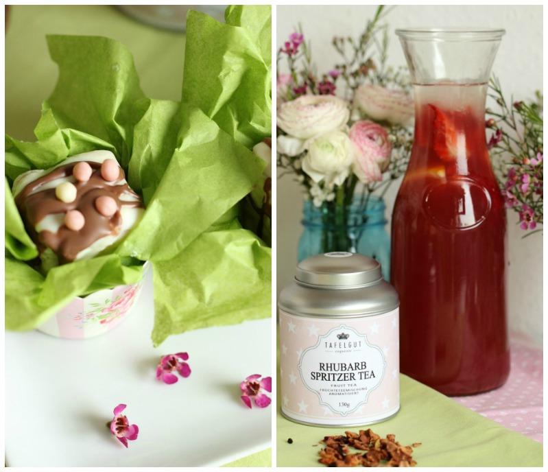 Kleine Teekuchen und Erdbeer Rhabarber Eistee mit Tafelgut Tee. 54