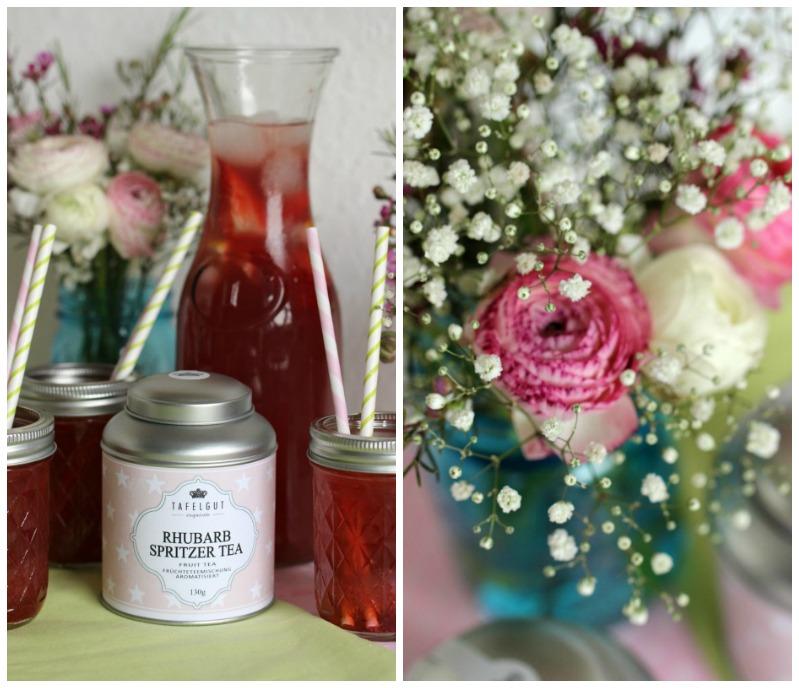 Kleine Teekuchen und Erdbeer Rhabarber Eistee mit Tafelgut Tee. 45
