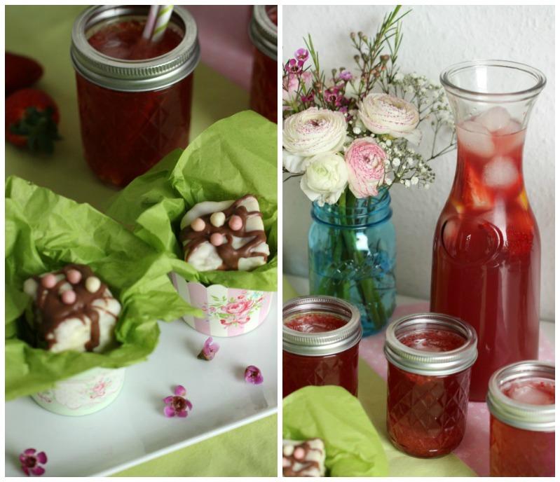 Kleine Teekuchen und Erdbeer Rhabarber Eistee mit Tafelgut Tee. 46