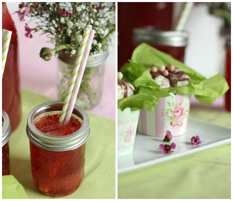 Kleine Teekuchen und Erdbeer Rhabarber Eistee mit Tafelgut Tee. 47