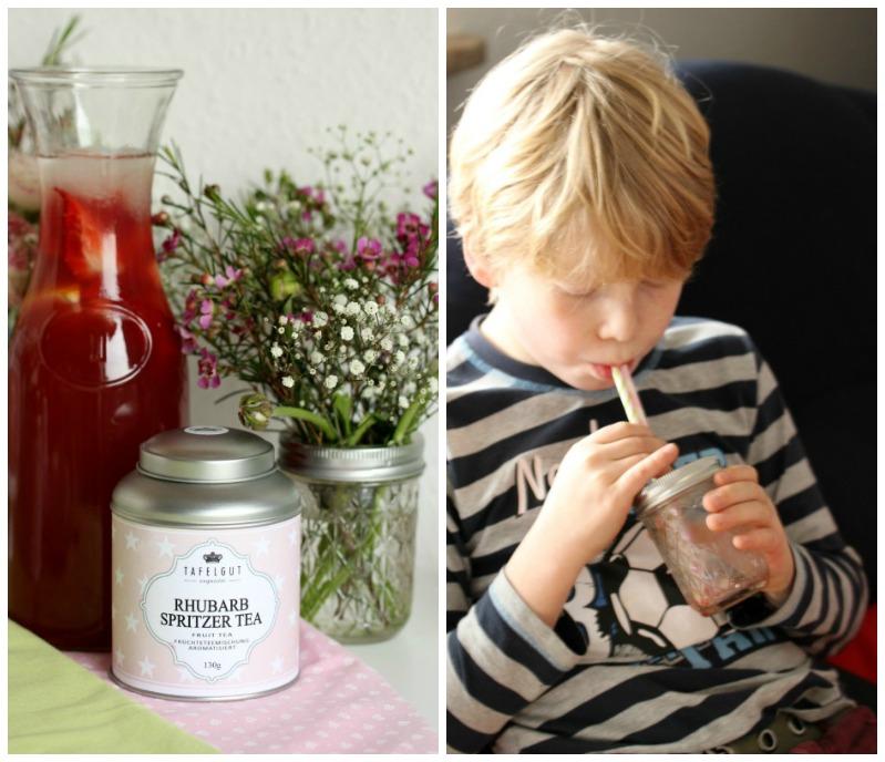 Kleine Teekuchen und Erdbeer Rhabarber Eistee mit Tafelgut Tee. 50