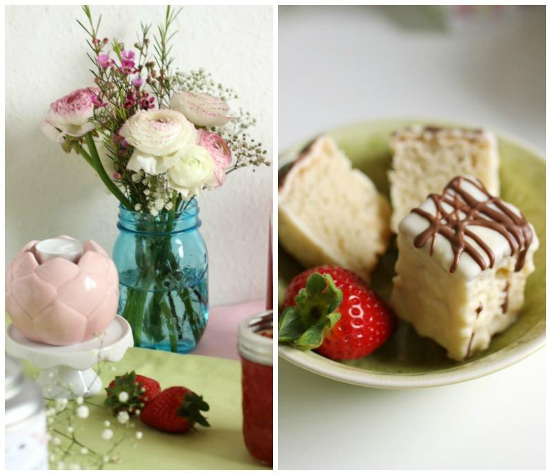 Kleine Teekuchen und Erdbeer Rhabarber Eistee mit Tafelgut Tee. 43