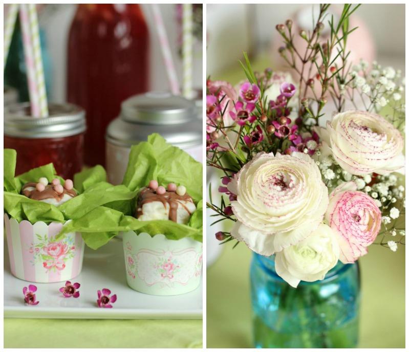 Kleine Teekuchen und Erdbeer Rhabarber Eistee mit Tafelgut Tee. 51