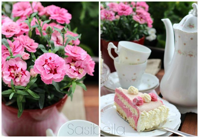 Einfache Marzipan-Himbeersahne Torte zum Geburtstag 4