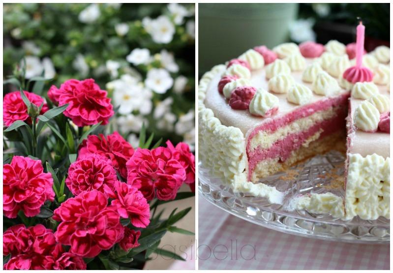 Einfache Marzipan-Himbeersahne Torte zum Geburtstag 5