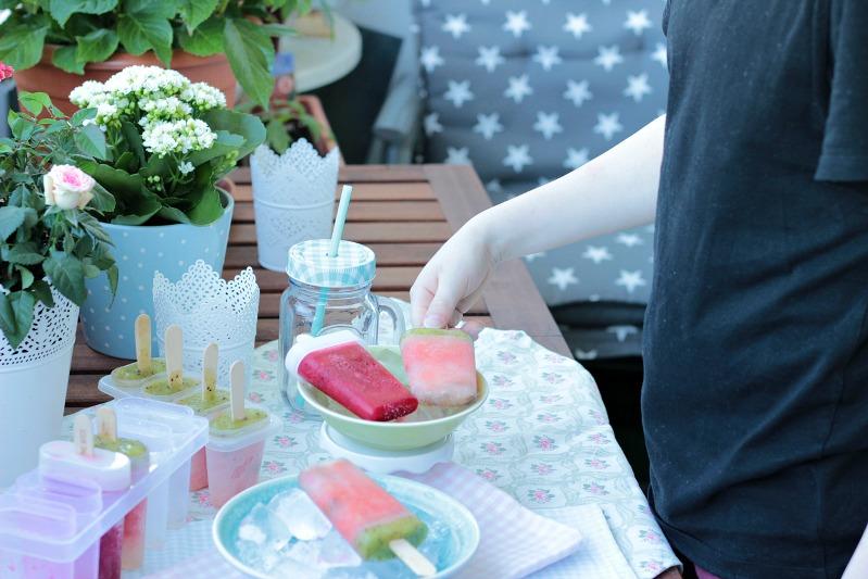 Wassermelonen Eis und Kirsch-Cranberry Popsicles-Fruchteis 4