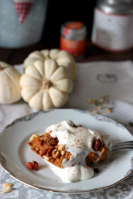 Kürbiskuchen Ofen-Porridge / Das etwas andere Frühstück* 4