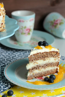 Nuss-Pudding-Torte mit Mango (glutenfrei) 15