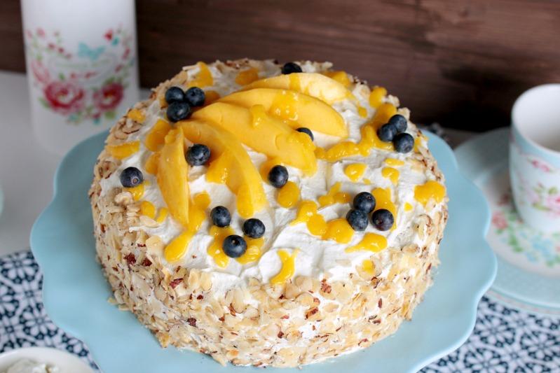 Nuss-Pudding-Torte mit Mango (glutenfrei) 11