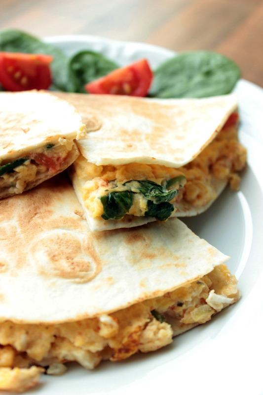 Rührei- Spinat Quesadillas für ein schnelles Frühstück 27