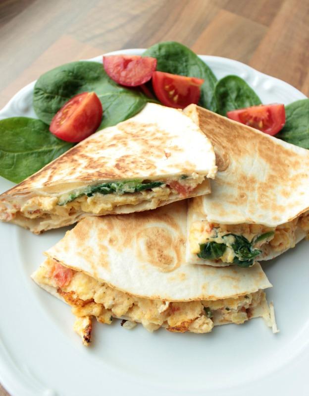 Rührei- Spinat Quesadillas für ein schnelles Frühstück 19