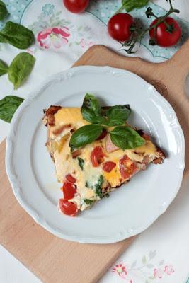 Frittata mit Pfifferlingen, Tomaten und Spinat 2