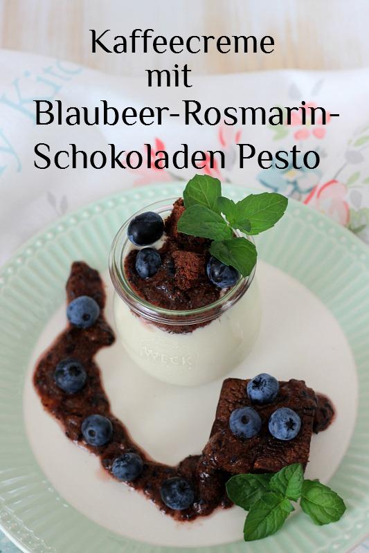 Kaffeecreme mit Brownie und Blaubeer-Rosmarin-Schokoladen Pesto 29