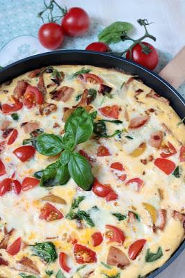 Frittata mit Pfifferlingen, Tomaten und Spinat 1