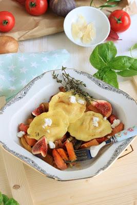 Girasoli mit Ziegenkäse und Thymianbutter auf Ofengemüse * 3
