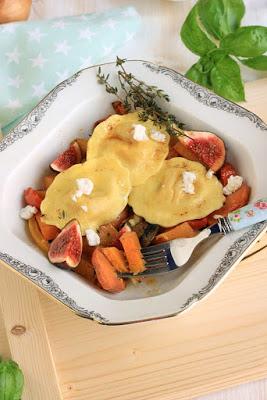 Girasoli mit Ziegenkäse und Thymianbutter auf Ofengemüse * 8