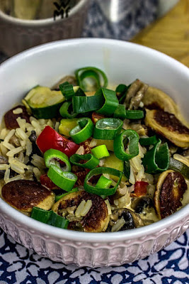 Reis-Gemüsepfanne mit Bratwurst in Frischkäsesauce -schnelle Feierabendküche 4