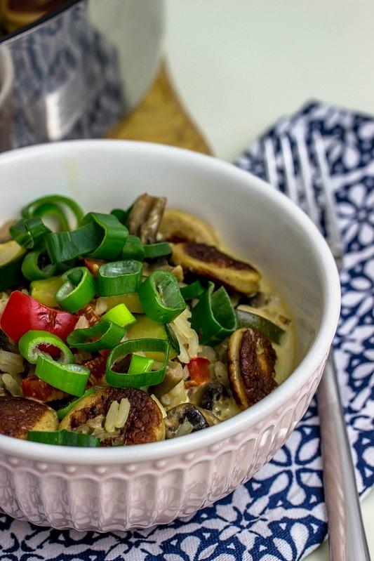 Reis-Gemüsepfanne mit Bratwurst in Frischkäsesauce -schnelle Feierabendküche 5