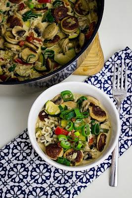 Reis-Gemüsepfanne mit Bratwurst in Frischkäsesauce -schnelle Feierabendküche 3