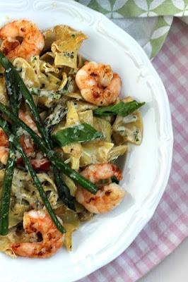 Pasta mit Garnelen und grünem Spargel 12