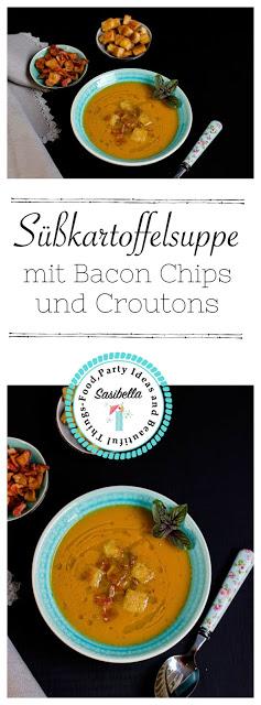 Süßkartoffel-Suppe mit Bacon Chips und Croutons 3