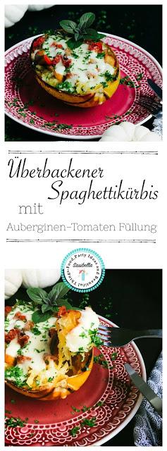 Überbackener Spaghettikürbis mit Auberginenfüllung 20