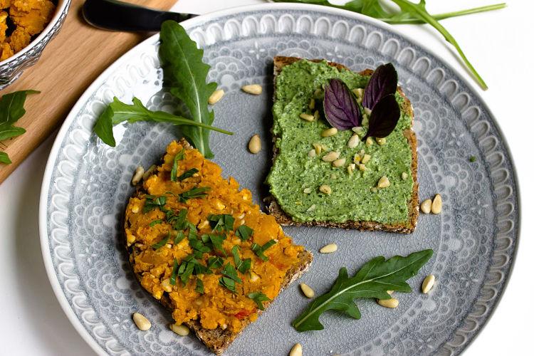 Kürbis-Nuss Brotaufstrich und Rucola-Parmesan Aufstrich 4