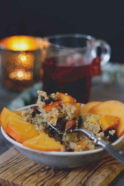 Frühstücks-Couscous mit Kaki,Orange und Nüssen /Adventskalendertürchen 14 15