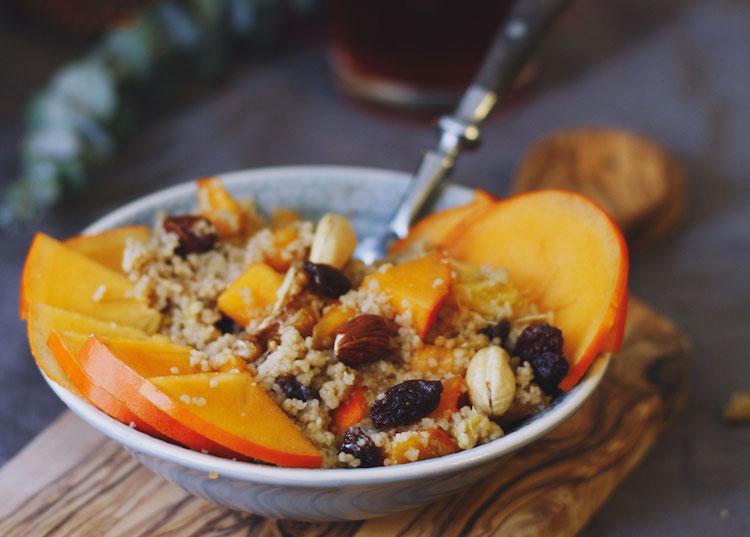 Frühstücks-Couscous mit Kaki,Orange und Nüssen /Adventskalendertürchen 14 1