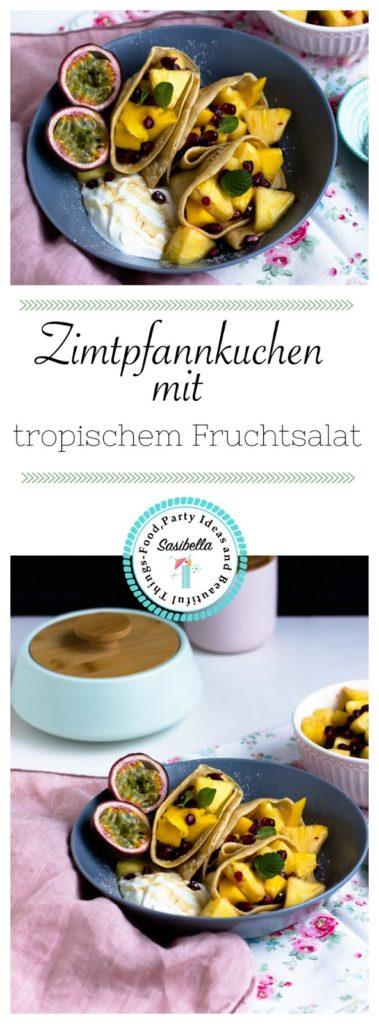 Zimtpfannkuchen mit tropischem Obstsalat und griechischem Joghurt 9