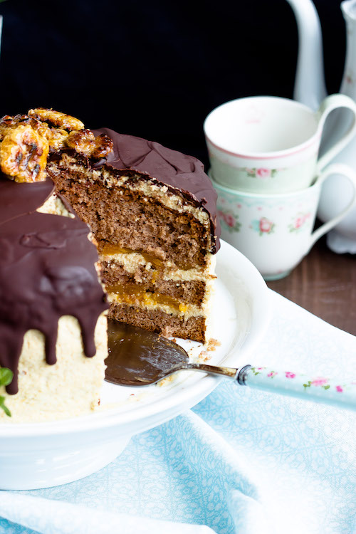 Kaffee-Walnuss Torte mit Mandarinen 2