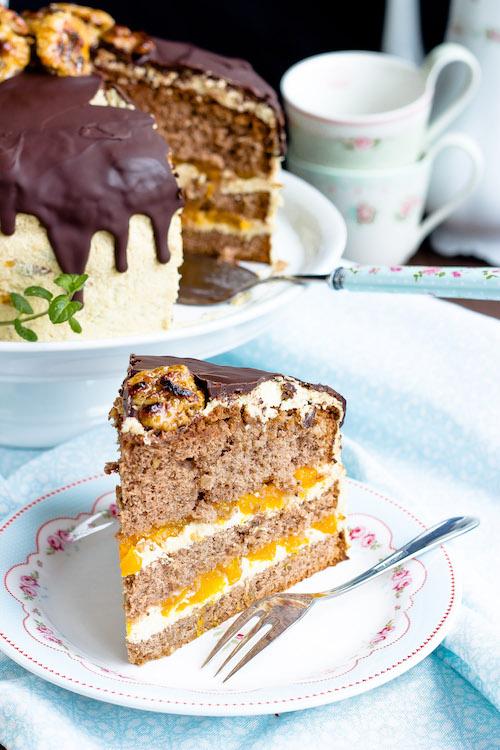 Kaffee-Walnuss Torte mit Mandarinen 7