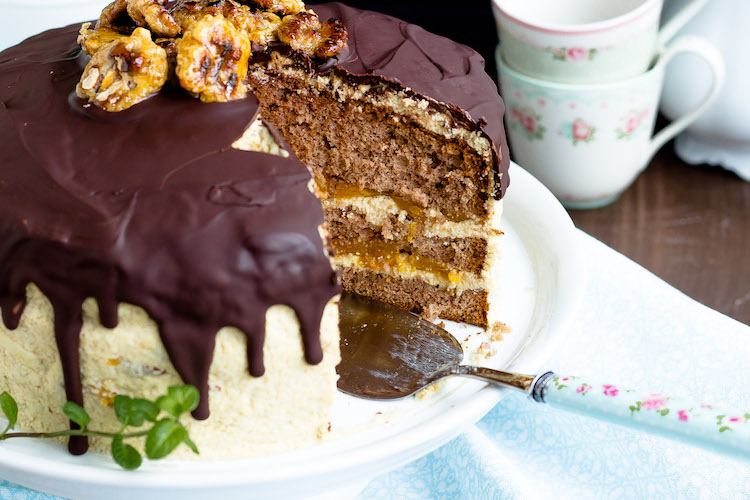 Kaffee-Walnuss Torte mit Mandarinen 6