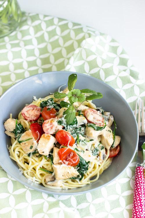 Spaghetti mit Pute,Spinat und Tomaten in einer Basilikumsauce - Pastaliebe im März 19
