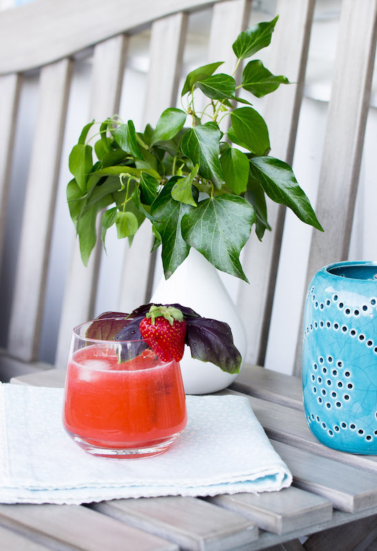 Erdbeer-Rhabarber-Basilikum Gin Fizz