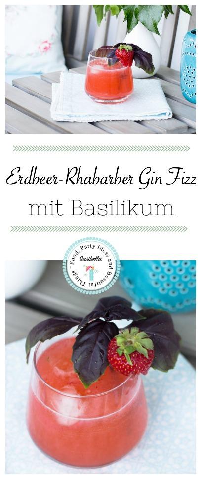 ERDBEEREN-RHABARBER GIN FIZZ MIT BASILIKUM