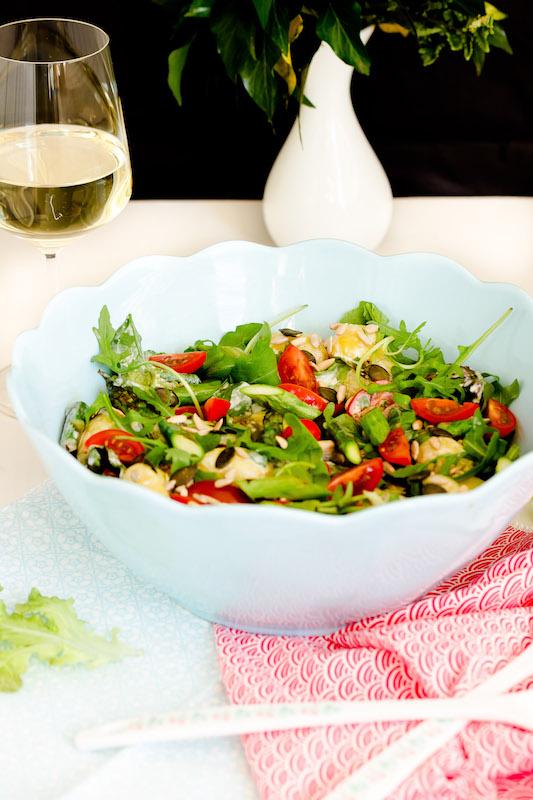 Kartoffelsalat mit Spargel und Ruccola