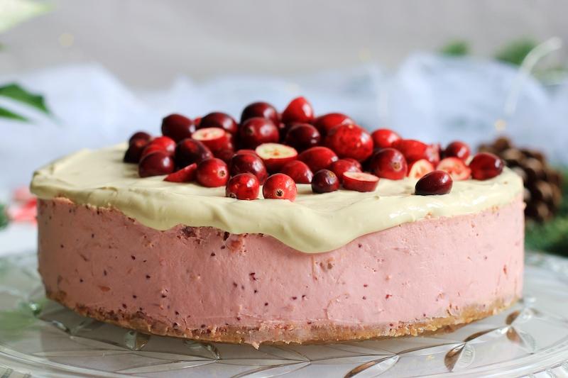 Cranberry Cheesecake mit Karamelsauce 6