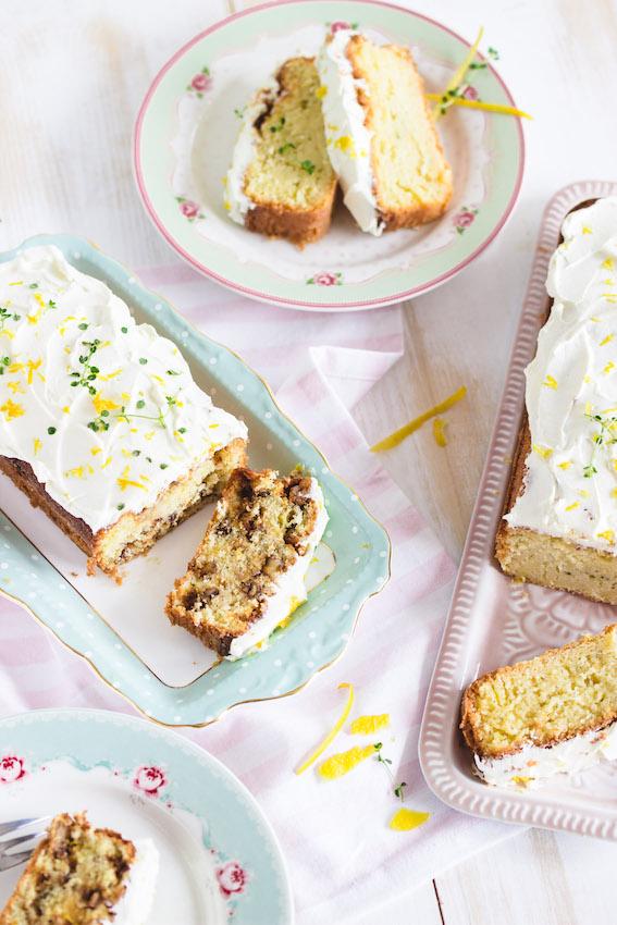 Zitronenkuchen mit Thymian - 1x mit Nüssen und 1x Zuckerfrei