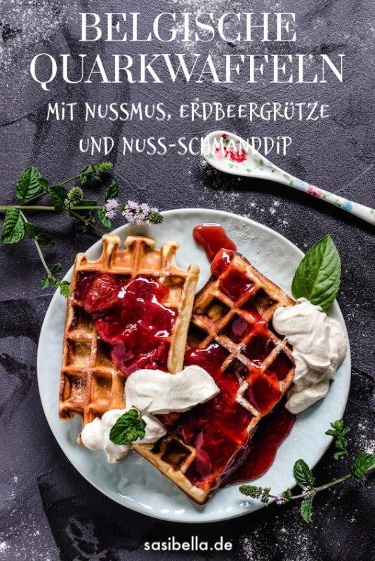 Belgische Nuss- Quarkwaffeln mit  Erdbeergrütze und Nuss-Schmanddip 4