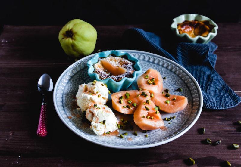 Pochierte Quitten mit Ricotta Creme-ein feines Herbstdessert