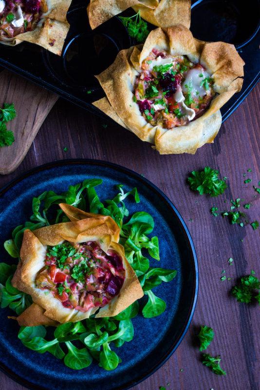 Filoteig Muffins mit Spitzkohl und Rote Bete 2
